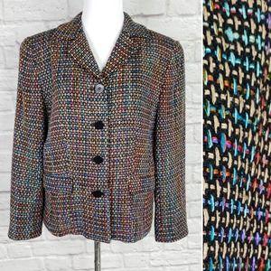 Vintage Barrie Pace Black Rainbow Silk Jacket Sz 8
